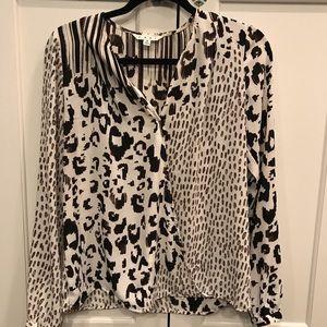 Animal print wrap blouse